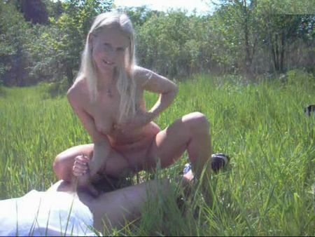 Wonderful sex with a blonde in the grass