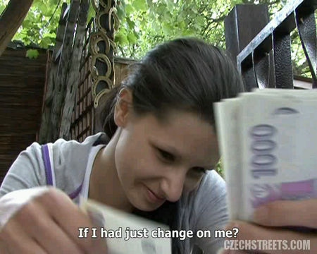 Sex for money - young brunette woman agreed to have sex for money in the street - VIDEO