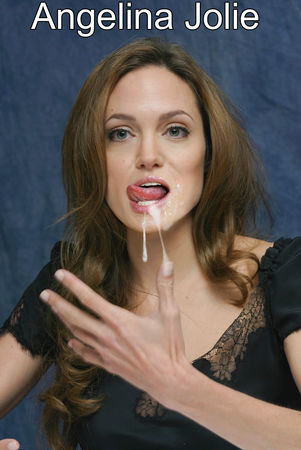 fake face cum jolie Angelina