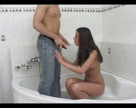Sex in the bathroom with a beautiful brunette