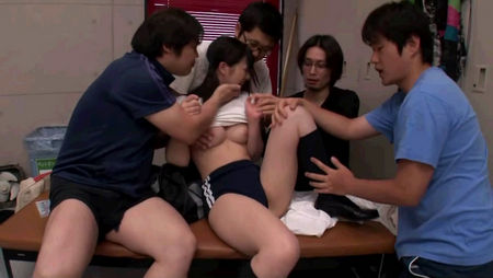 Orgy at the school - a group of men fucks a little girl
