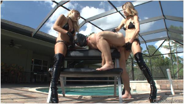 Girls with Big Strapon, Latex, Dildos, Men Slaves, Female Domination, Brutal Girls dominate over Guys