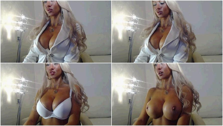 Beautiful blonde with big boobs on webcam